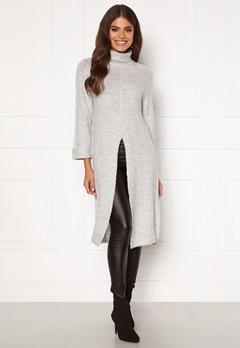 Happy Holly Milla long sweater Light grey melange Bubbleroom.dk