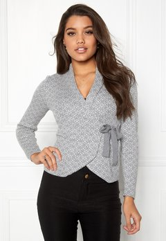 Happy Holly Mona cardigan Grey melange / Offwhite Bubbleroom.dk