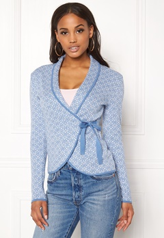 Happy Holly Mona cardigan Light blue / Offwhite Bubbleroom.dk