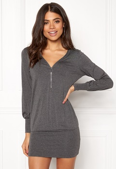 Happy Holly Natalie cuff tunic Dark grey melange Bubbleroom.dk