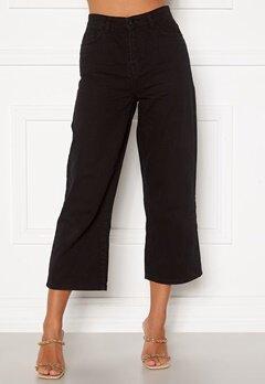 Happy Holly Pamela wide leg culotte jeans Black Bubbleroom.dk