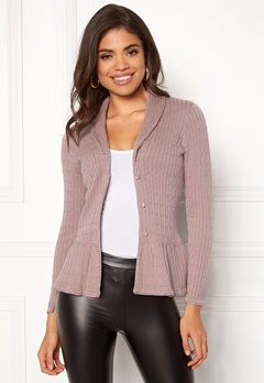 Happy Holly Patricia cable cardigan Dusty pink Bubbleroom.dk