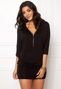 Happy Holly Perla cuff tunic Black Bubbleroom.dk