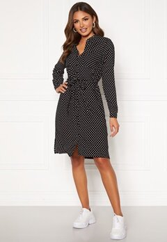 Happy Holly Ronja ls shirt dress Black / Dotted Bubbleroom.dk