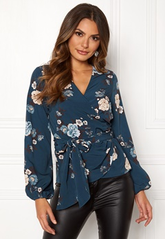 Happy Holly Samantha blouse Petrol-blue / Patterned Bubbleroom.dk