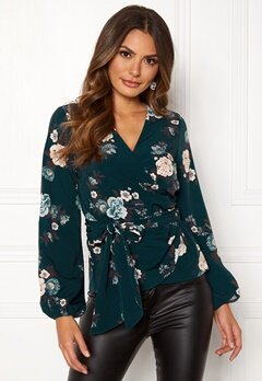 Happy Holly Samantha blouse Petrol-blue / Patterned Bubbleroom.dk