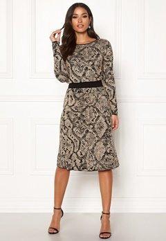 Happy Holly Sandra knitted lurex skirt Animal print Bubbleroom.dk