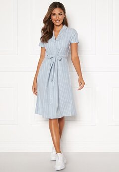 Happy Holly Sandra ss shirt dress Blue / White Bubbleroom.dk