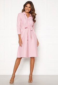 Happy Holly Sanna shirt dress Pink / Striped Bubbleroom.dk