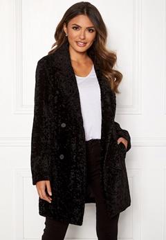 Happy Holly Sienna fur coat Black Bubbleroom.dk
