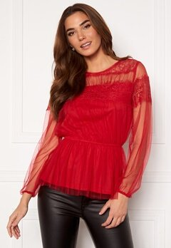 Happy Holly Smilla ls mesh blouse Red Bubbleroom.dk