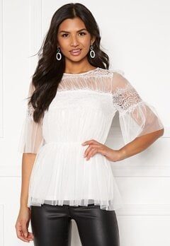 Happy Holly Smilla mesh top  White Bubbleroom.dk