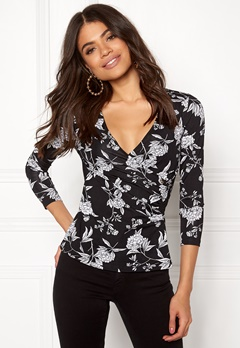 Happy Holly Stella top Black / Patterned Bubbleroom.dk