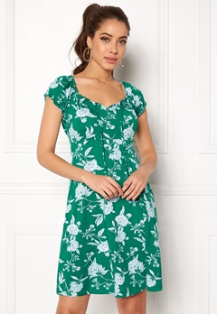 Happy Holly Tessan dress Green / Offwhite Bubbleroom.dk