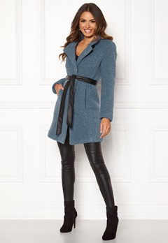 Happy Holly Tuva wool coat Dusty blue Bubbleroom.dk