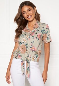 Happy Holly Vilma knot shirt Beige / Floral Bubbleroom.dk