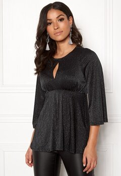 Happy Holly Zahra lurex top Black / Silver Bubbleroom.dk