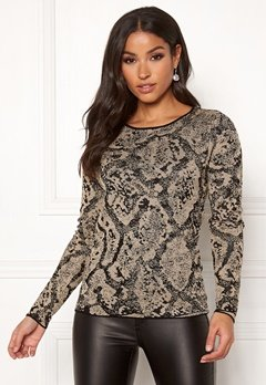 Happy Holly Sandra knitted lurex sweater Animal print Bubbleroom.dk
