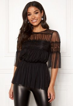 Happy Holly Smilla mesh top Black Bubbleroom.dk