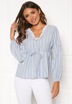 Happy Holly Sanna blouse Blue / Striped Bubbleroom.dk