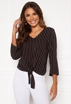 Happy Holly Thea knot blouse Black / Striped Bubbleroom.dk