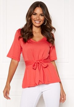 Happy Holly Moa knot top Coral red Bubbleroom.dk