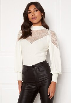 Happy Holly Nathalie lace puff top White Bubbleroom.dk
