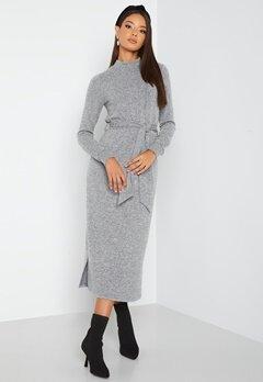 Happy Holly Faith cosy midi dress Grey melange bubbleroom.dk