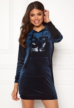 Happy Holly Kaylee velour hoody Dark blue Bubbleroom.dk