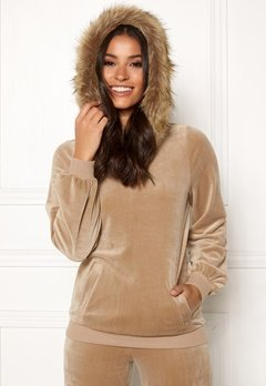 Happy Holly Kaylee short fur hoody Light mole Bubbleroom.dk