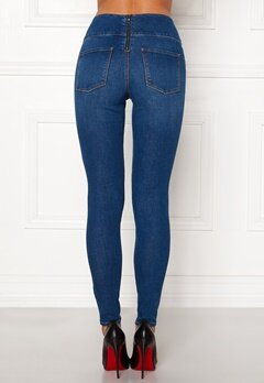 Pieces Highwaist Skinny Jeggings Medium Blue Denim Bubbleroom.dk