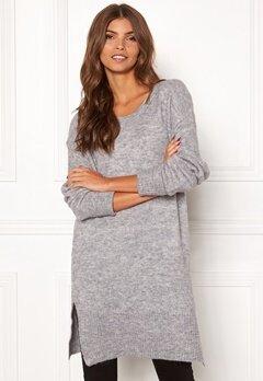 ICHI Amara Long LS Dress Grey Melange Bubbleroom.dk