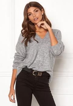 ICHI Amara V LS Sweater Grey Melange Bubbleroom.dk
