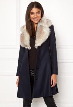 Ida Sjöstedt Tracey Coat Wool Navy/Light Fur Bubbleroom.dk