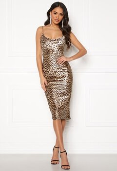 Ivyrevel Velvet Bodycon Dress Black/Brown Leopard Bubbleroom.dk