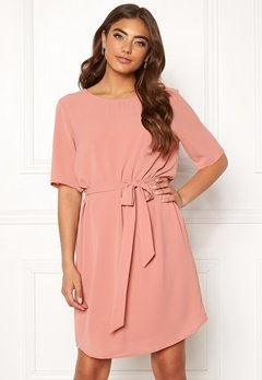 Jacqueline de Yong Amanda 2/4 Belt Dress Old Rose Bubbleroom.dk
