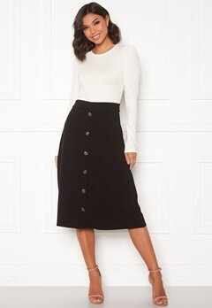 Jacqueline de Yong Bellis Button Skirt Black/Dark wood butt Bubbleroom.dk