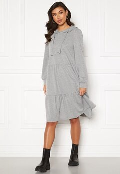 Jacqueline de Yong Dale L/S Hood Sweat Dress Light Grey Melange Bubbleroom.dk