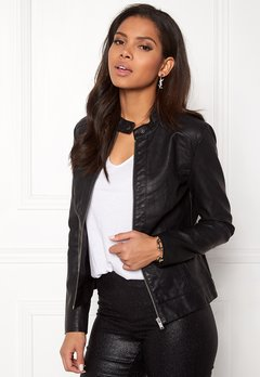 Jacqueline de Yong Dallas Faux Leather Jacket Black Bubbleroom.dk