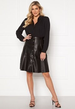 Jacqueline de Yong Hill Button PU Skirt Black Bubbleroom.dk