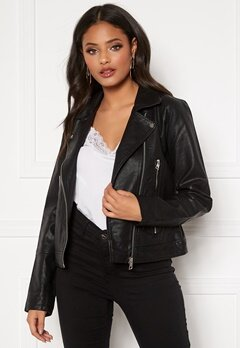 Jacqueline de Yong Ilde Faux Leather jacket Black Bubbleroom.dk