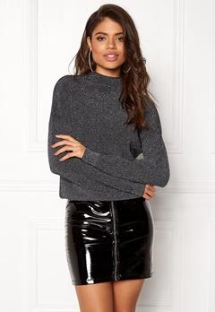 Jacqueline de Yong Julia L/S Pullover Black/Silver Bubbleroom.dk
