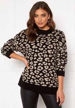 Jacqueline de Yong Leo L/S Pullover Black/Leopard Bubbleroom.dk