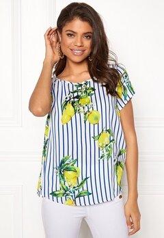 Jacqueline de Yong Limone S/S Top Lemon and Stripe Bubbleroom.dk