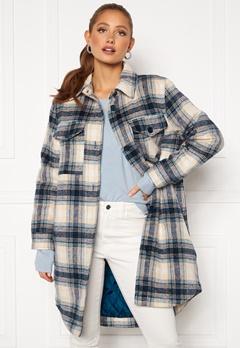 Jacqueline de Yong Long Check Shirt Jacket Majolica Blue Bubbleroom.dk