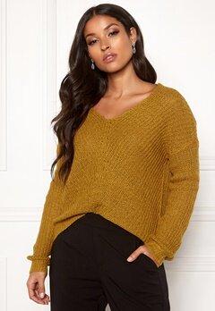Jacqueline de Yong Megan L/S Pullover Harvest Gold Bubbleroom.dk