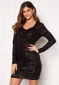 Jacqueline de Yong Mimo Sequins L/S Dress Black Sequins Bubbleroom.dk