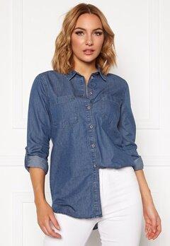 Jacqueline de Yong Roger L/S Long Shirt Medium Blue Denim Bubbleroom.dk
