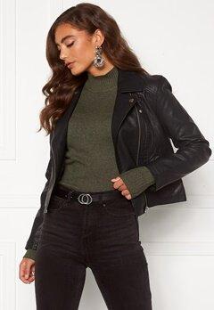 Jacqueline de Yong Simba Faux Leather Jacket Black Bubbleroom.dk