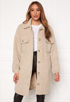 Jacqueline de Yong Stella Teddy Shirt Jacket Cement Bubbleroom.dk